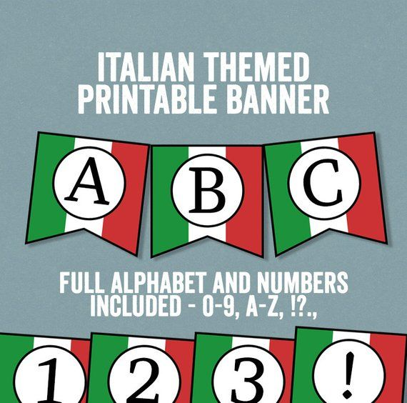 Italian Flag Bunting Printable Any Phrase Diy Italy Party Etsy Italian Party Italy Party Italian Themed Parties