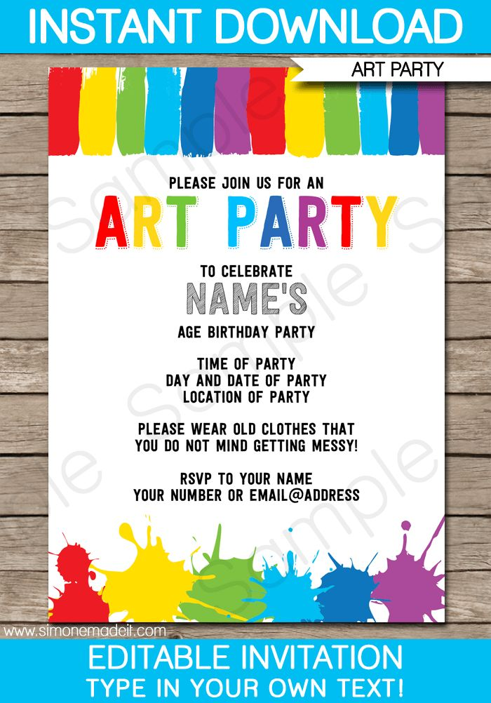 56 best art | paint party ideas images on pinterest | birthday, Birthday invitations