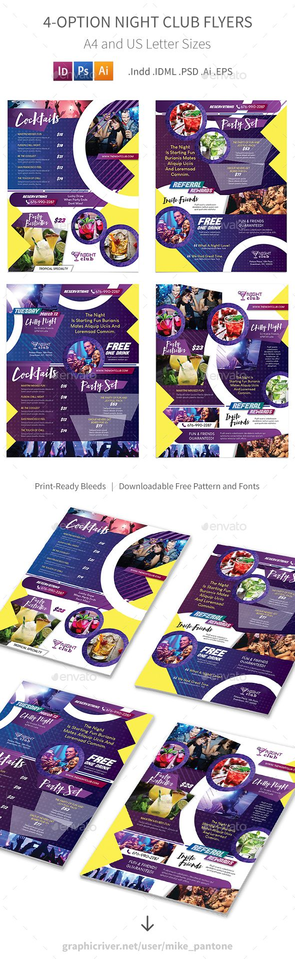#Night Club #Flyers – 4 Options - Corporate Flyers