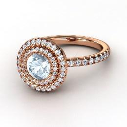 Natalie Ring, Round Aquamarine Rose Gold Ring with Diamond from Gemvara