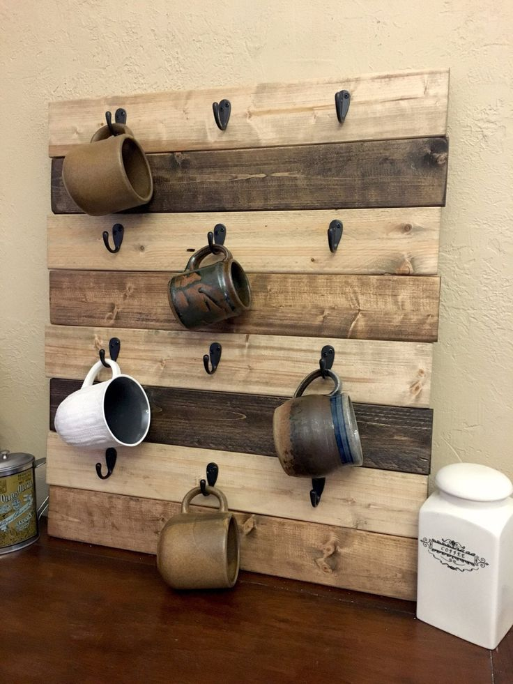 Coffee Cup Holder Coffee Mug Rack Coffee Decor Kitchen Rustic Farmhouse Coffee Decor Wood Mug ...