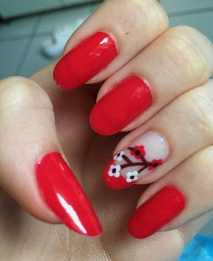 Nail art  Vermelho Flor