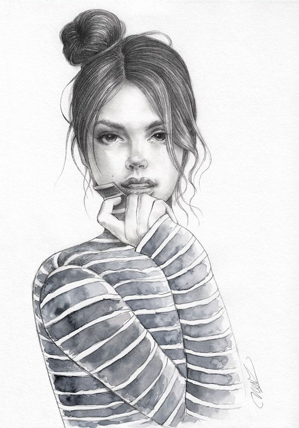 Original Pencil And Watercolor Fashion Illustration Unique Drawing Messy Bun Cute Girl Ar Fashion Illustration Watercolor Unique Drawings Watercolor Fashion