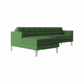 Sofá 3 Lugares Living com Chaise e Pés em Alumínio Eco Algodão Pistache