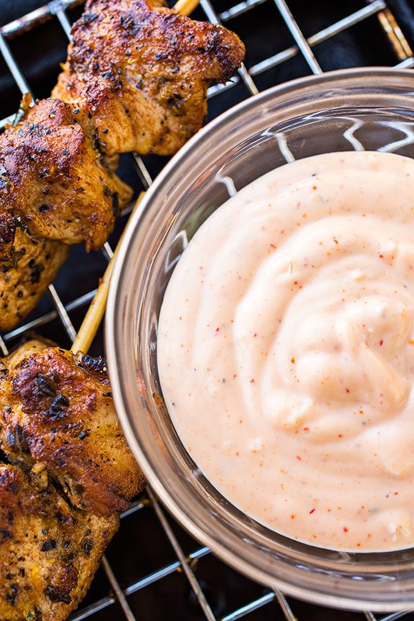 Grilled Lemon Chicken and Garlic Sauce | Spicy Garlic Sauce Ingredients: • ½ cup mayonnaise • ½ cup sour cream or full-fat, plain Greek yogurt • 3 cloves garlic, pressed through garlic press • 1 tablespoon tahini • 2-3 teaspoons sriracha (I used a lot more since I like mine spicy, so use your own judgement!) • 1 teaspoon salt • Pinch black pepper • Pinch cayenne pepper (again, you can use more, if you like it spicier) • ½ teaspoon lemon juice