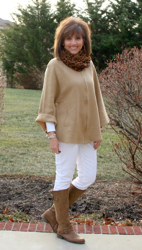 31 Days of Winter Fashion-Day 9 -  yes - white jeans are OK for winter! & look great with the cape/scarf/boots - I can do this one!!