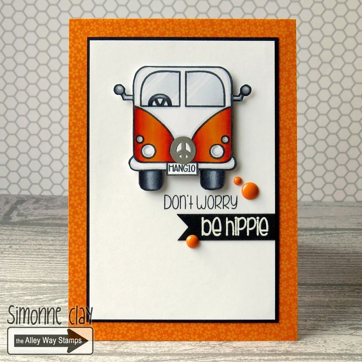 The Alley Way Stamps: Feeling Groovy by Simonne Clay | TAWS, cards, clear stamps, CAS, VW, camper van, hippy, orange, #TAWS