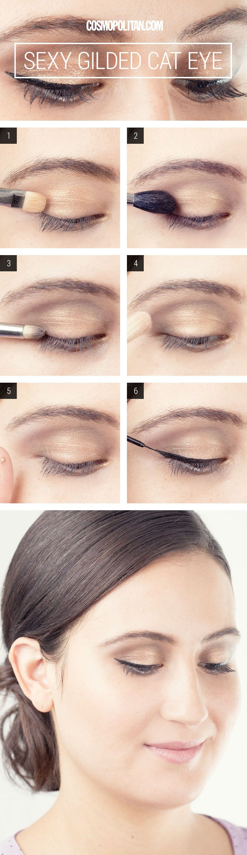 Gold Cat Eye Makeup How-To - Eye Makeup How To - Cosmopolitan