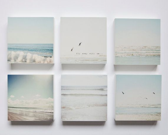 Pale blue, grey and white beaches set of 6 photo blocks-beach decor, beach wall art, ocean, seagulls, typography, sunshine, summer, soothing on Etsy, $110.69 CAD