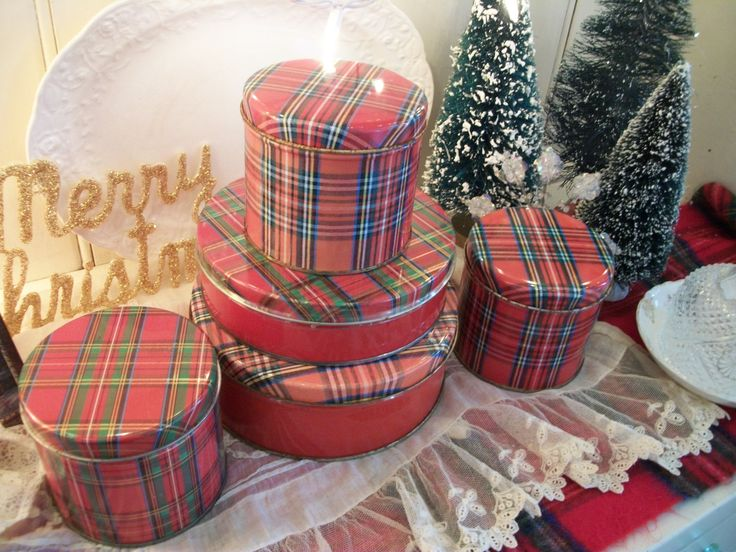 5 vintage red tartan plaid christmas tins, bright cheerful plaid, holiday decorating, country chic decor, red scotch plaid by polkadotrose on Etsy https://www.etsy.com/listing/569843895/5-vintage-red-tartan-plaid-christmas
