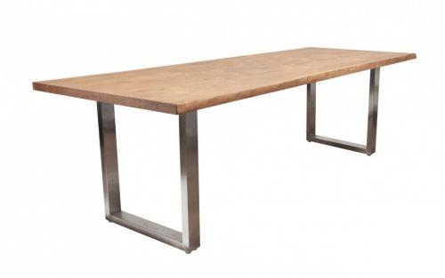 Tradisjonelt og naturlig kombineres med tøft og moderne i våre flotte Oakman bord!Bordet har et moderne understell i rustfri stål og en solid og tradisjonell bordplate i amerikansk eik med