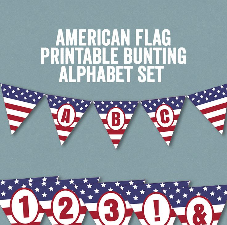 Printable American Flag Bunting, Alphabet Bunting printable, American flag printable banner, usa flag 4th july bunting, instant download by YouGrewPrintables on Etsy