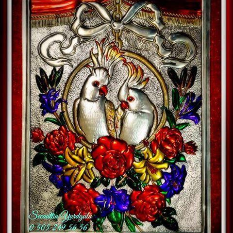 PAPAĞANLAR #papağan #repüjado #rölyef #sanat #bursa #art #folyo #elişi
