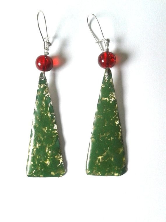 Christmas tree earringsholiday earringsnew year by dimitrART, $14.00