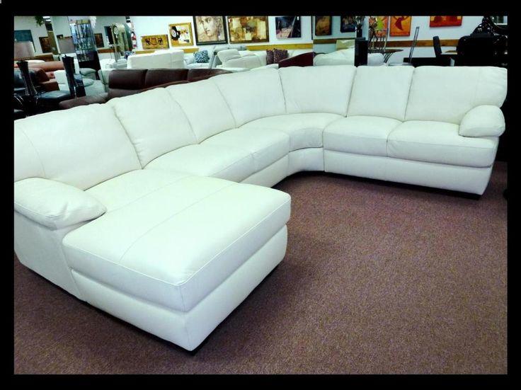 Natuzzi Editions White Leather Sectional B594  25 Grade,natuzzi Leather  Sectionals, Natuzzi Leather