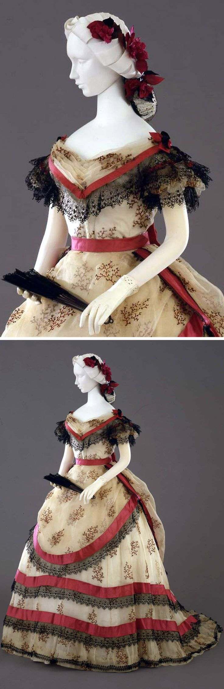 Ball gown, Italian (?), ca. 1869. Ivory-colored linen, with printed coral branches, bordered in red satin and black lace. Photo: Antonio Quattrone. Collection Galleria del Costume di Palazzo Pitti