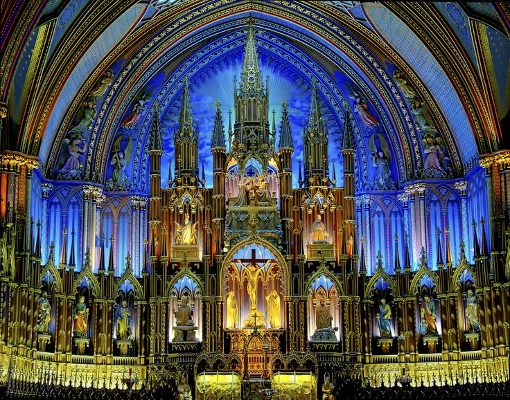 Ornate Church - Notre-Dame Basilica of MontréalChurches Chapels Cathedral, Beautiful Canada, Montreal Photos, Basillica, Beautiful Places, Montréal Beautiful, Beautiful Cathedral, Holy Places, Montreal Quebec