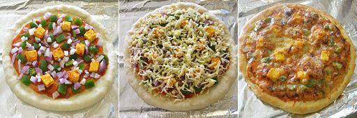 Homemade Veg Pizza / Paneer Tikka Pizza - Step by Step Recipe