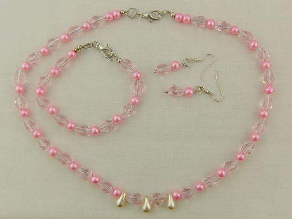 Necklace Bracelet Earrings Beaded Jewellery Pink by OswestryJewels
