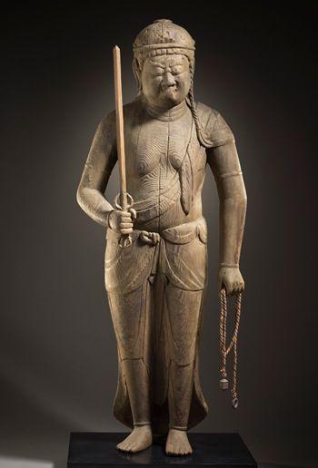 Fudō Myōō: The Indomitable Foe of Evil, Japan, c. 1125, Buddhist sculpture carved from one solid block of Zelkova wood