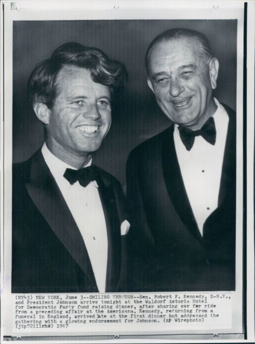 Bobby Kennedy and Lyndon Johnson; The only time you'll find a pleasant picture featuring the two of them.