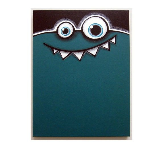 a WEEk oF mOnSTeRs - FRIDAY - part of a series - 12x16 original acrylic painting, monster art, monster decor, monster nursery