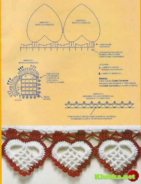 """Lots of """"trim"""" edges pattern diagrams available, including this lovely heart design!"""