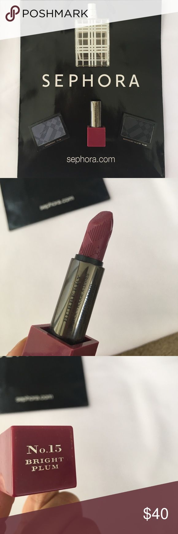 Burberry Brit Perfume Lipstick Eyeshadow Sephora Burberry Brit Parfum Eau De toilette half full. Burberry Eyeshadow in Lavender #14 and Midnight Black #18. Lipstick is Bright Plum #14 tried once with lip brush 100% full. Eyeshadows are new in package. Offers Welcome Sephora Makeup Lipstick