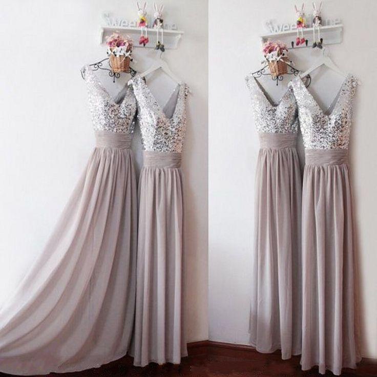 Купить товарБлестками платье невесты синий / персик / слоновая кость / шампанское / серебристый / желтый сияющий блестками шифон платья для подружек невесты бесплатная доставка в категории Платья подружек невестына AliExpress.            Ребекка \'s                   Свадебные платья                Вечерние и выпускные платья
