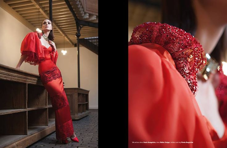 Editorial Rendez-vous de la Mode, issue 7. September 2015. Silk hourglass gown with lace ruffles with embroidered details.