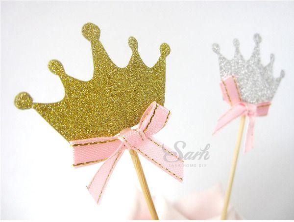 3 части короны принцессы тематические свадьбы день рождения кекс украшения флаги вставляют карты десертами плоды вилкой