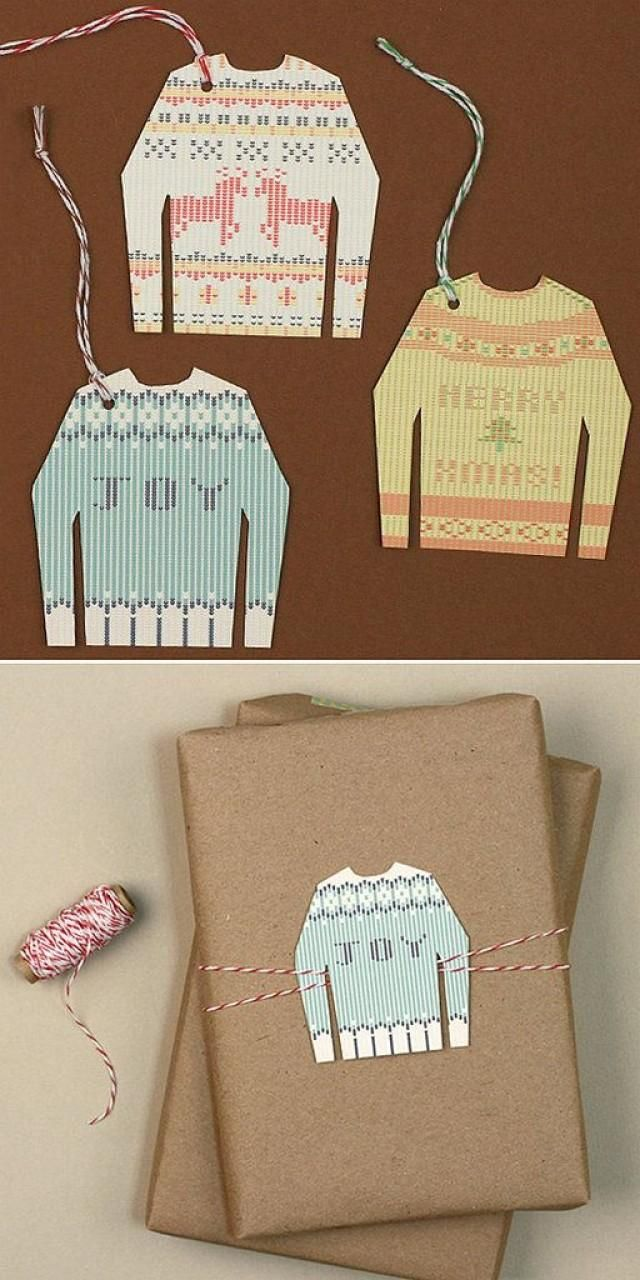 Print out these free ugly sweater gift tag printables, then use on favors