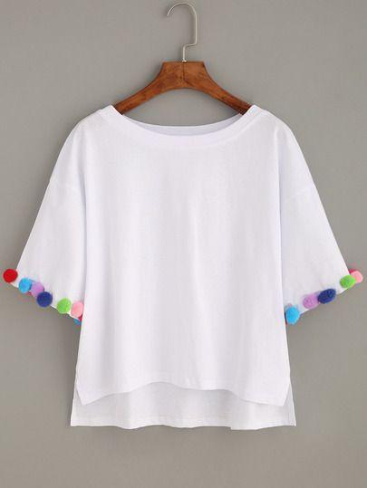 White Dip Hem T-shirt With Coloful Pom Pom Trim