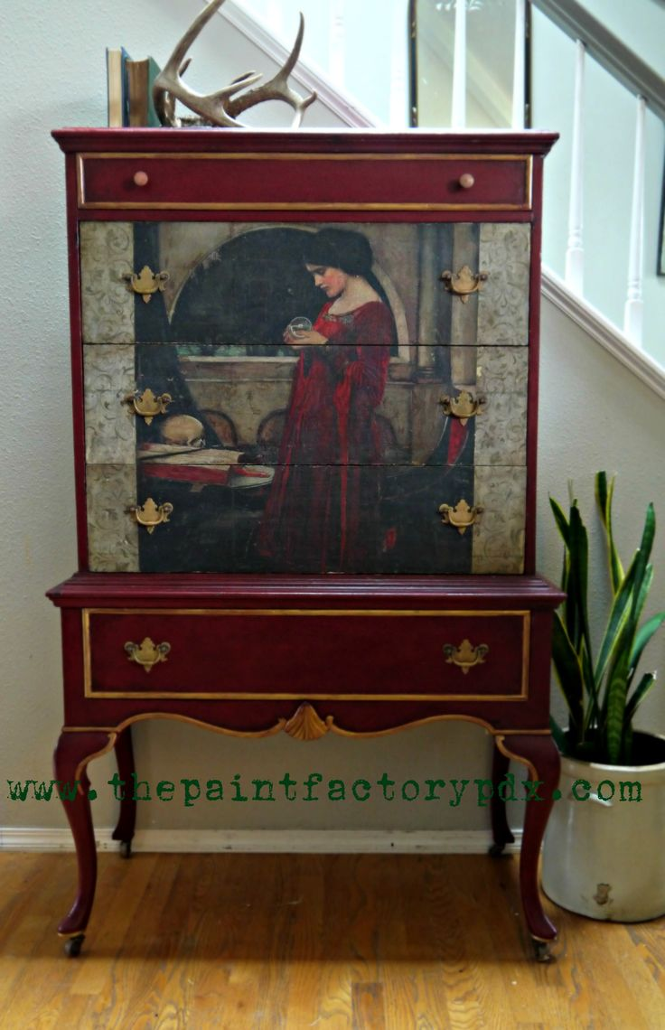The Crystal Ball Hi-Boy Dresser Image Transfer, Burgundy Annie Sloan chalk paint. www.thepaintfactorypdx.com