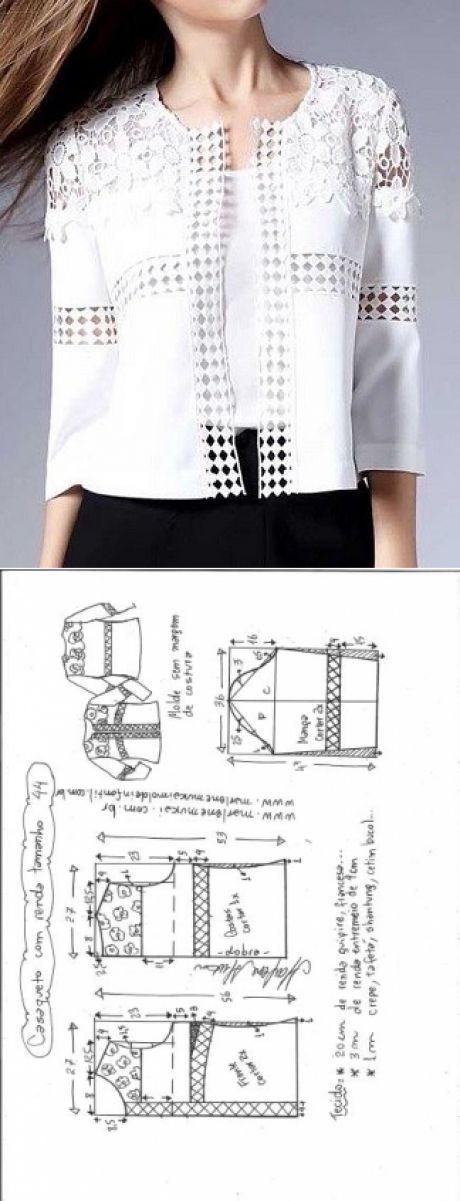 Casaqueto com entremeio | DIY - molde, corte e costura - Marlene Mukai