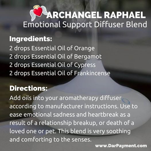 Archangel Raphael Emotional Support Diffuser Blend. Use to ease emotional sadness and heartbreak as a result of a relationship breakup, or death of a loved one or pet. This blend is very soothing and comforting to the senses. Enjoy! #archangels, #archangel Raphael, #essential oils
