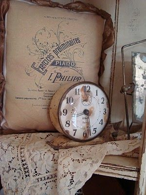 Shabby Lace & Burlap...rusty old clock...french cottage creamy pillow.