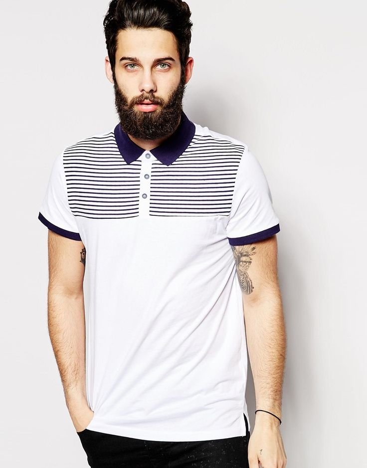 Image 1 ofNew Look Polo Stripe Polo