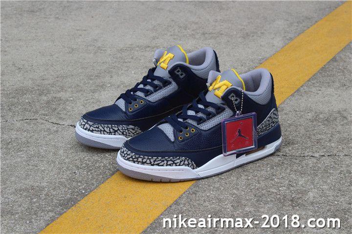 1c65078224e Air Jordan 3 Retro Michigan 820064 Mens Sneakers Navy Blue Gray White