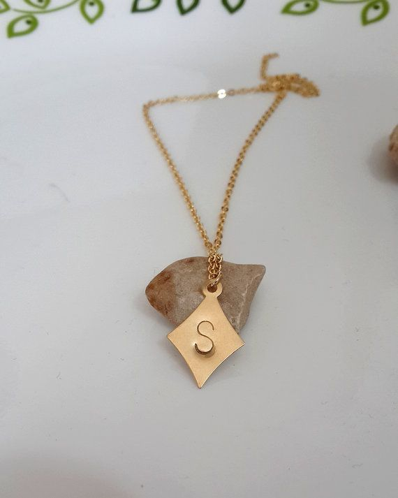 #Gold #Geometric #Necklace -Tiny #Gold #Filled #shape #pendant - #Initial #Hand #stamp Tiny One #gold #filled small initial geometric #pendant with gold filled #chain #necklace. Just simple so you can wear it every day and match it with other #necklaces too.
