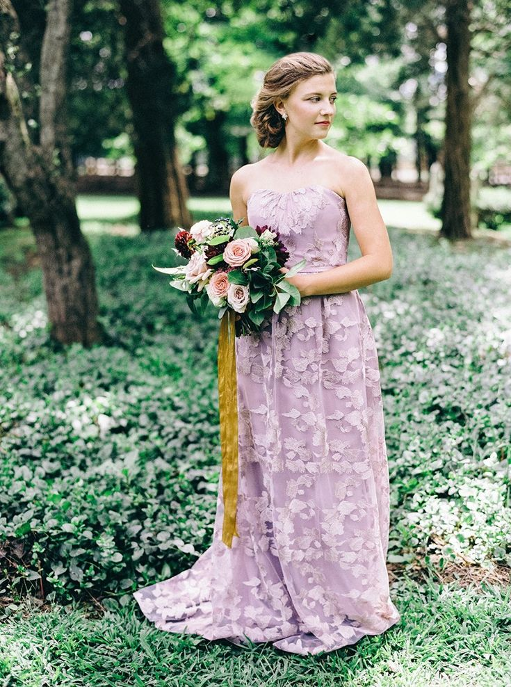 Full Length Lavender Bridesmaid Dress