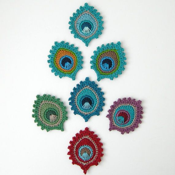This is a listing for a PDF photo tutorial pattern in ENGLISH and not for the finished items. I also sell the finished items; please have a look at my shop to get an idea of the variety of (peacock) crochet items I sell.   The crochet peacock feather applique or motif is my own original design. It measures approx. 9 x 7.5 cm / 3.6 x 3 inch and I make it using 100% mercerized cotton and a 3mm hook / D hook.  The possibilities for this motif are endless. You could make garlands, wall hangings…