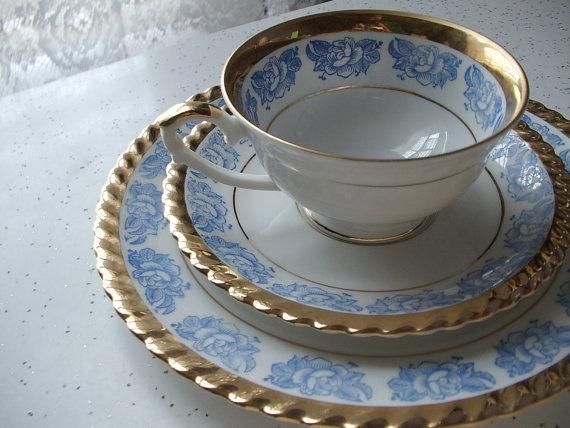 blue white gold tea cup and saucer plate set, vintage Bavaria, porcelain, roses