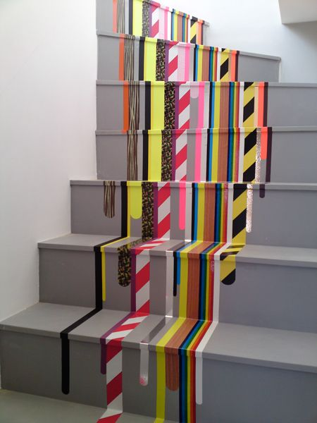 Brightly colored contemporary stripes on the stairs using ... tape! | iampascal.comDecor, Ideas, Painting Stairs, Interiors Design, Stairs Runners, Home Stairs, Washi Tape, Outdoor Stairs, Diy Projects