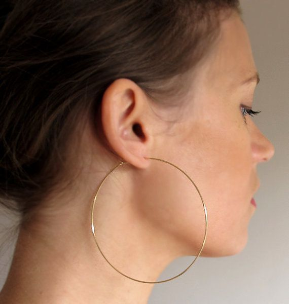 3 inch Gold Hoop Earrings Elegant Extra Large by NadinArtDesign