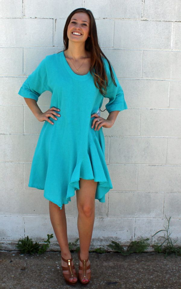St Pete Tunic or Dress in Reef by Oh My Gauze clothing, Cotton gauze clothing great for summer fashion!  Boho chic fashion gypsy style. Pullover tunic with banded slightly U-neck & 3/4 length sleeves. Sharkbite hemline with ruffles for soft look. Cotton