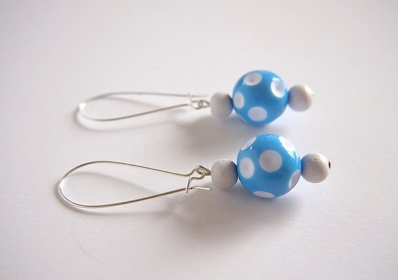 Vintage Lucite blue and white polka dot beads and by gtgadabout, $27.40