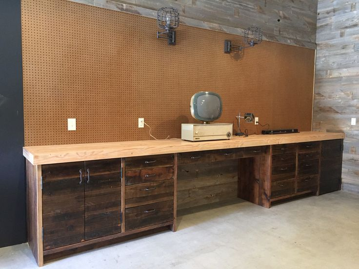 Custom antiqued shop cabinet and butcher block work bench