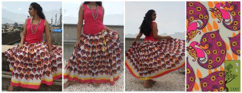 Vrindavan skirt 1- dancing peacocks