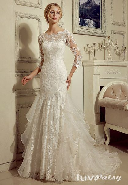 87 best wedding dress images on pinterest ethnic fashion dreams modest lace wedding dress with 34 lace sleeves junglespirit Images